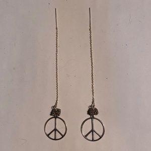 Jewelry - Sterling Silver Peace sign ear threader earrings